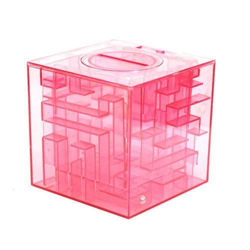 BUYEONLINE 3D Clear Plastic Money Bank Saving Coin Saver Box Iq Test Toy Puzzle Maze Game - Color Random