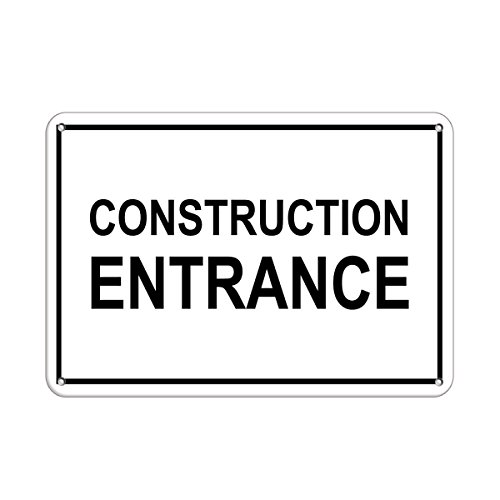 Construction Entrance Hazard Sign Construction Sign Aluminum METAL Sign 24 in x 18 in from Fastasticdeals