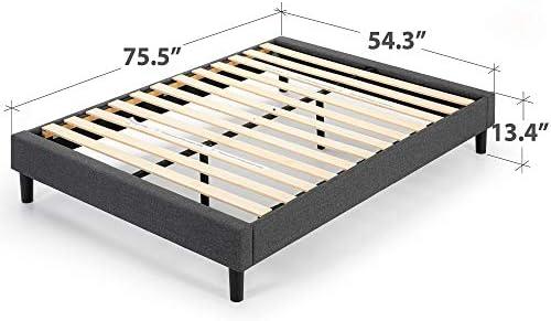 ZINUS Curtis Upholstered Platform Bed Frame / Mattress Foundation / Wood Slat Support / No Box Spring Needed / Easy Assembly, Grey, Full 41LGRwLQSxL