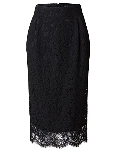 New LE3NO Womens Floral Lace High Waisted Pencil Midi Skirt for sale