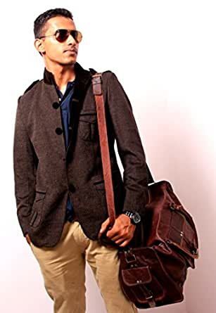 HandMadeCart Luggage Travel Gym Shoulder Vintage Leather Duffel Bags