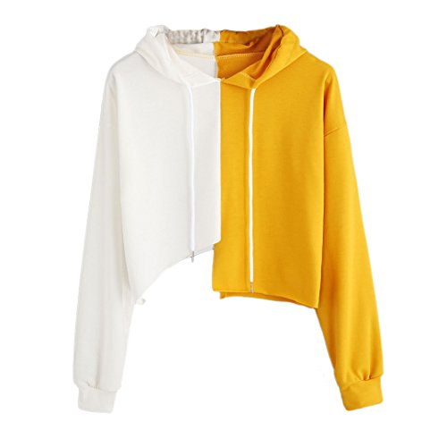 Haoohu Womens Unique Yellow and White Irregular Hoodie Sweatershirt Blouse Hip Hop Tank Top for Casual Club Performance (S) by Haoohu