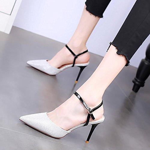 De Pelo Zapatos Sexy Colores Señaló Touch 9 silvery con KPHY Verano Acorde Moda De de Bien Cm Tacon El Sandalias One Alto Zapatos Mujer De wCxxHnXq