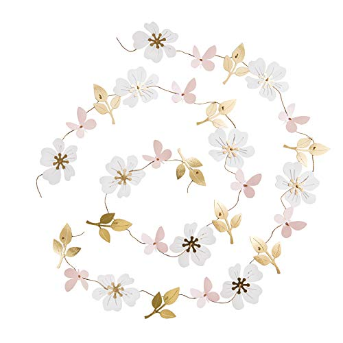 Ling's moment 13FT Paper Butterfly Flower Leaves Garland, Set of 2, Hanging Flower Backdrop Garland for Baby Nursery Birthday Party Wedding Bridal Shower Dorm Room(Gold+Pastel Pink+White) ()