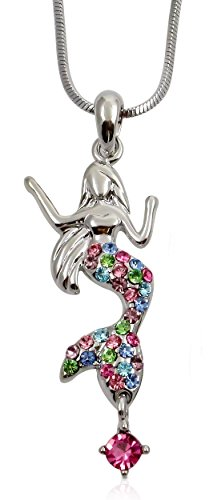 (Mermaid Charm Pendant Necklace, Ocean Beach Birthday, Stocking Stuffer Jewelry Gifts for Daughter, Granddaughter, Women, Teens, Girls (Rainbow))