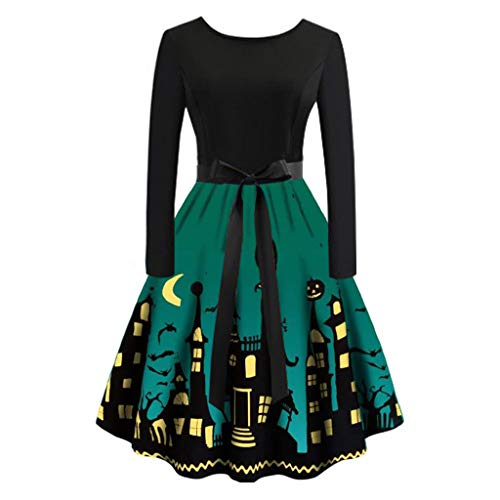 Halloween Fancy Dress Party London 2019 (ERLOU Halloween Women's Long Sleeve Loose Print Vintage 1950s Rockabilly Plus Size Party Prom Dresses (Green,)
