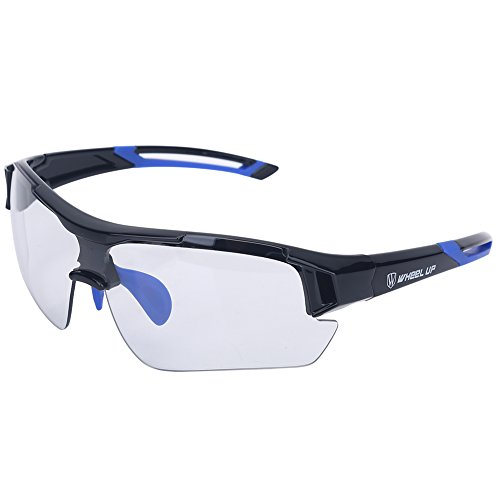T-best Unisex Photochromic Sunglasses,Windproof UV Protection Bike Glasses Photochromic Safety Glasses Polarized for Outdoor Sport Mountain Cycling Motocycle Driving Hiking Fishing (Blue) (Best Cycling Glasses Photochromic)