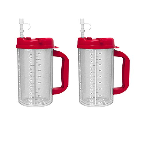 - 2 Pack of 32 oz Red Double Wall Insulated Hospital Mugs - Cold Drink Mugs - New Swivel Lid Design - Includes 11