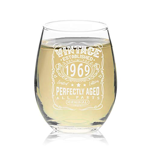 Veracco Vintage Established 1969 Perfectly Aged Stemless Wine Glass 50th Birthday Gift For Him Her Fifty and Fabulous (1969, Stemless Wine)