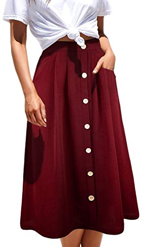 Aifer Womens High Waist A-Line Button Down Vintage Midi Chiffon Pleated Skirt with Pockets (Red, XX-Large) ()