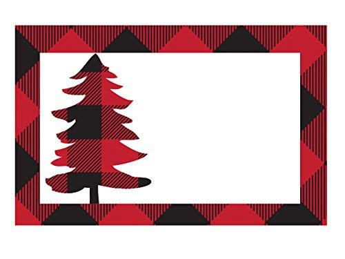 Pack Of 50, red and black Buffalo Plaid Gloss Enclosure Card 3-1/2 x 2-1/4