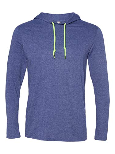 Anvil Lightweight Long Sleeve Hooded T-Shirt. 987 X-Large Heather Blue / Neon Yellow