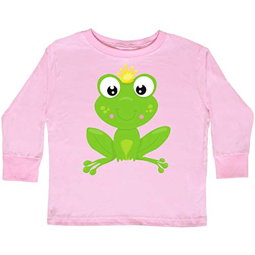 inktastic - Frog Prince, Cute Frog, Toddler Long Sleeve T-Shirt 3T Pink ()