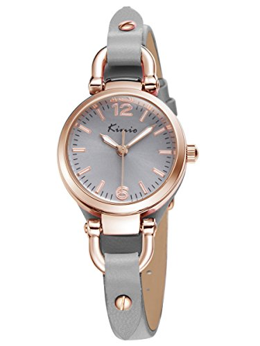 Alienwork Quarz Armbanduhr Armreif Kette wickeln Quarzuhr Uhr vintage Roségold grau Leder YH.KW545G-04