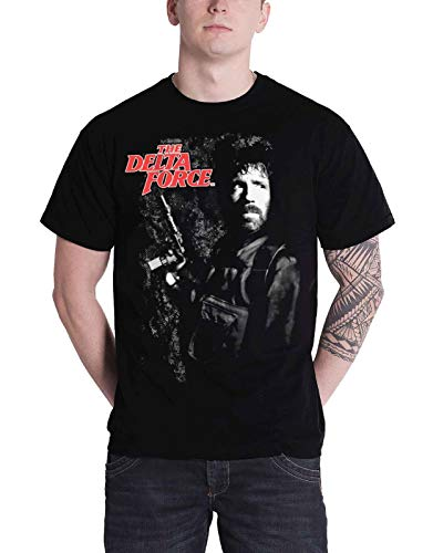 Delta Force T Shirt Chuck Norris Portrait Movie Logo Official Mens Black Size L