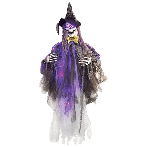 - One Holiday Way Creepy Light Up Skeleton Witch Hanging Halloween Decoration Party Prop