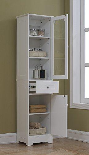 RunFine RFBW01012 Linen Tower, Glass Door with 2 Adjustable Shelves, 1 Drawer with Wood Door Including 1 Adjustable Shelf and Chrome Hardware by RunFine (Image #2)