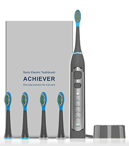 Cheap Electric Toothbrush, Sonic Electronic Whitening Toothbrushes Cordless Rechargeable Toothbrush with Timer 4 Brush Heads 5 Optional Modes(Grey)