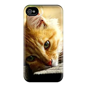 Excellent Design Golden Kitty Phone Case For Iphone 4/4s Premium Tpu Case