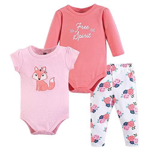 Hudson Baby Baby Bodysuit and Pant Set, Floral Fox, 9-12 Months (12M) ()