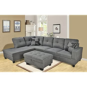Beverly Furniture Gray 3-Piece Microfiber Sectional Sofa Set with Free Storage Ottoman2  sc 1 st  Amazon.com : 3 piece microfiber sectional - Sectionals, Sofas & Couches