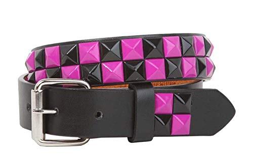 MONIQUE Girls Black Fuchsia Checkerboard Rock Studded Leather Snap On 1'' Belt,Black & Fuchsia L - 28