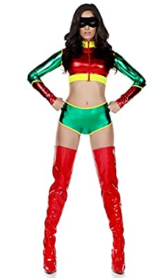 Forplay Women's 3 Piece Metallic Hero Costume Top Shorts Mask