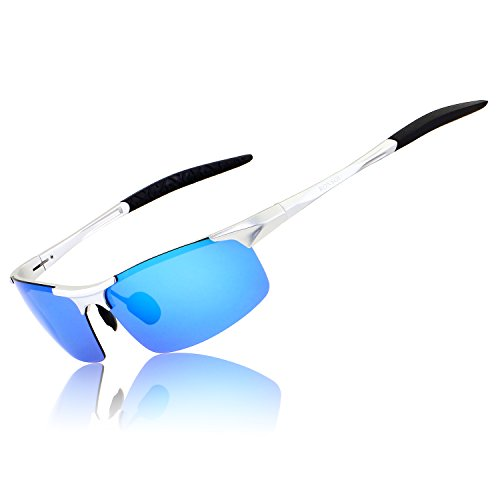Ronsou Men Sport Al-Mg Polarized Sunglasses Unbreakable for Driving Cycling Fishing Golf