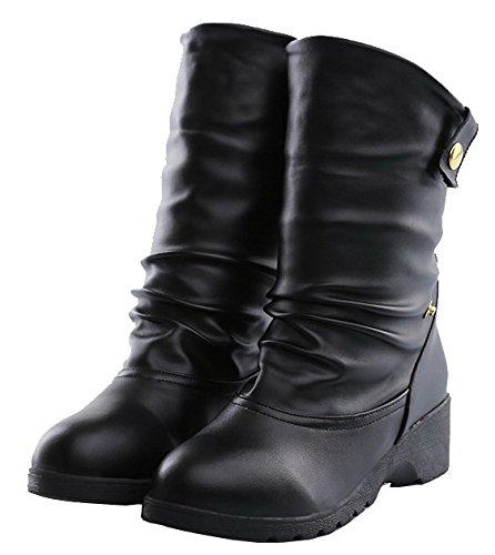 AgeeMi Shoes Mujeres Suede Tacón Medio Puntera Cerrada Sólido Caña Baja Botas Negro