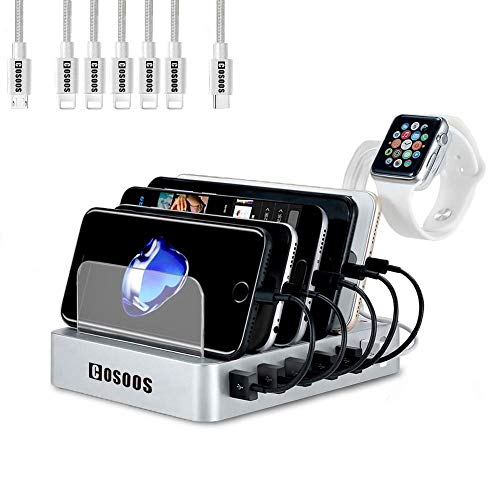 Charging Station for Multiple Devices,COSOOS USB Charger Station with 5 lPhone Charger,1 Type-C,1 Micro Cable,iWatch Stand,6-Port Charging Station for iPhone,iPad,Kindle(Silver White,UL Certified)