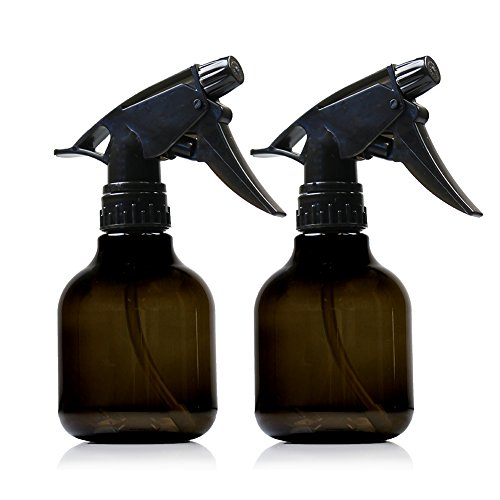 Empty Smoke colored Spray Bottles - 2 Pack, 8 Oz Refillable Sprayer for Essential Oil, Water, Kitchen, Bath, Beauty, Hair, and Cleaning - Durable Trigger Sprayer with Mist & Stream ()
