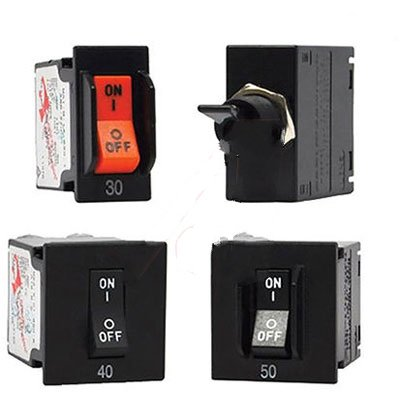 Carling MF2-B-64-612-1-BC4-7-C Circ. Breaker Hyd/Mag Rocker 2-P 12A Ser. Trip Med Delay QC Tab 125/250VAC - Mag 250 Tabs