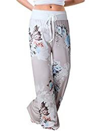Women's High Waist Casual Floral Print Drawstring Wide Leg Pants