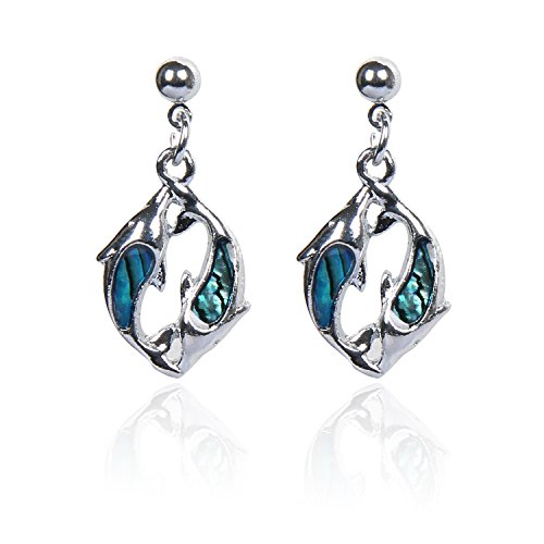 Blue Abalone Paua Double Dolphin Earring for Gift Jewelry (Earring 6#) ()