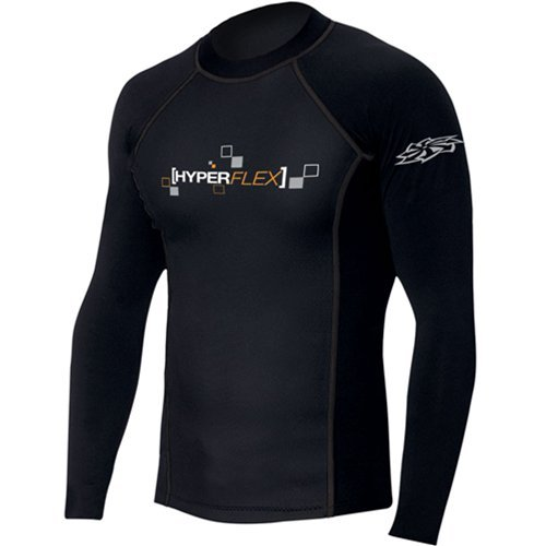 Hyperflex Wetsuits Men's Polyolefin 50/50 L/S Rash Guard, Black, XXX-Large - Surfing, Windsurfing & (Polyolefin Rash Guard)