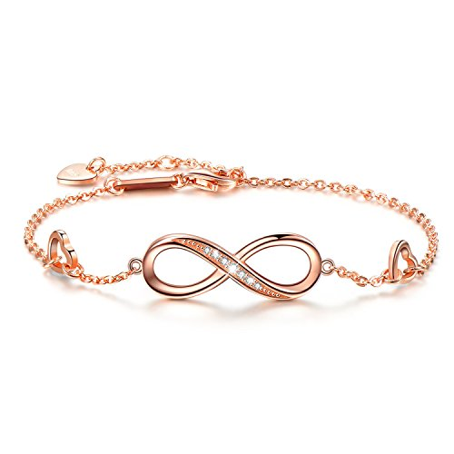 Silver Charms Plated Gold (OneSight Women Infinity Love Bracelet, Rose Gold Plated 925 Sterling Silver Adjustable Charm Forever Bracelet for Women Girls)