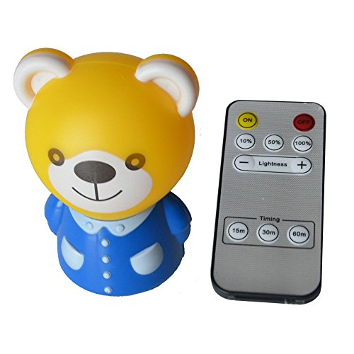 Bedroom Night Light for Adults & Children Light My Way Nightlight Baby Bedside Remote Control Lamp with Timer for 15 minutes/30 minutes/1 hours Open close ghtness adjustable Bear