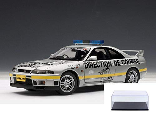 - AUTOart Diecast Car & Display Case Package - 1997 Nissan Skyline GT-R (R33) Lemans Pace Car, Silver w/ Decals 77329 - 1/18 Scale Diecast Model Toy Car w/Display Case