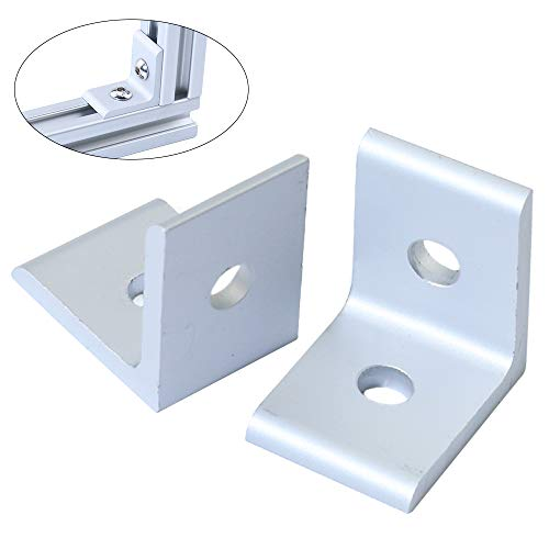 KOOTANS 10-Pack 2 Hole 90 Degree 20 Series Joint Plate Corner Angle Bracket Connection for Slot 6mm 2020 Aluminum - 20 Aluminum Angle