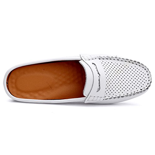 Slip Loafer Flats Summer On Backless Out Leather Shoes SUNROLAN Breathable Hollow Slipper Women's Mule White Casual qXPcvt
