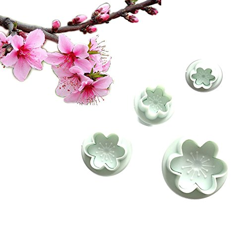 Witkey 4 PCS Peach Blossoms Shape DIY Decoration Baking Molds Cute Cartoon Cookie Cutter Fortune Cake Sushi Candy Molds Biscuits Mold Model Bakeware Tool
