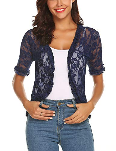 URRU Women's 3/4 Sleeve Lace Shrug Bolero Open Front Cardigan Navy Blue M ()