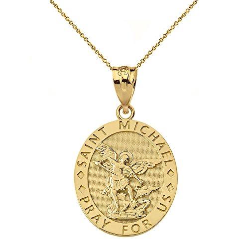 10k Gold Oval Engraved Archangel Saint Michael Pray For Us Medal Necklace, 16