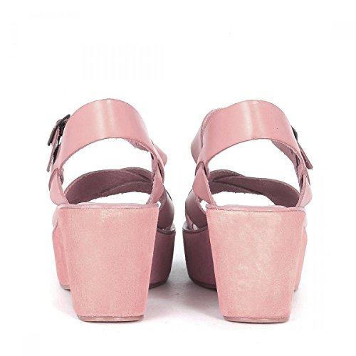 Sandalia con cuña Kork Ease modelo Ava en piel rosa polvo Rosa