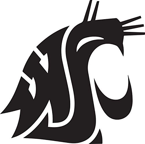 (ANGDEST WSU WAZZU Washington State University (Black) (Set of 2) Premium Waterproof Vinyl Decal Stickers for Laptop Phone Accessory Helmet Car Window Bumper Mug Tuber Cup Door Wall Decoration)