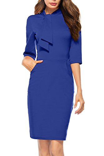 Berydress Women's 1950s Vintage Half Sleeve with Pockets Cocktail Party Pencil Dress (L, 6068-royal Blue)
