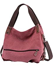 Gindoly Damen Canvas Handtasche Klein Vintage Shopper Schultertasche Henkeltasche Hobo Tasche Beuteltasche EINWEG