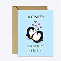 Cute Anniversary card for boyfriend, Penguin birthday card, couple card, greeting card