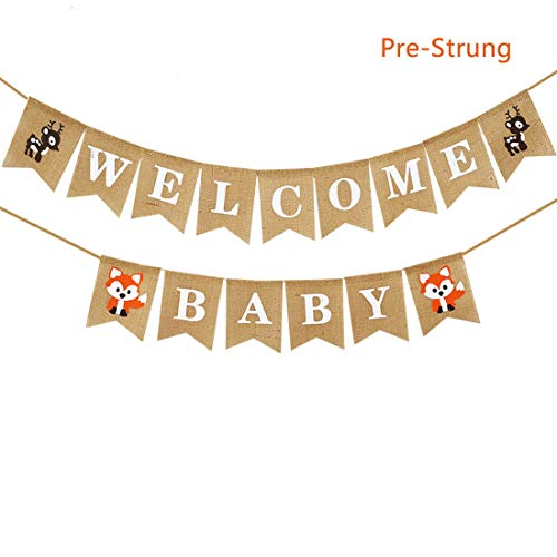 Woodland Baby Shower,Fox Deer Welcome Baby Banner,Woodland Creatures Banner Fawn Forest Animal Friends Felt Garland Baby Shower Party Supplies Decorations Woodland Gender Reveal Banner ()