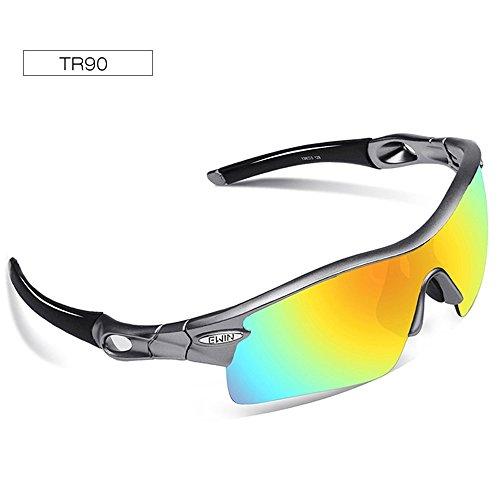 Ewin E12 Polarized Sports Sunglasses, Cycling Glasses with 4 Interchangeable Lenses TR90 Frame Baseball Glasses for Men Women (Silver&Grey) - Silver Baseball Sunglasses